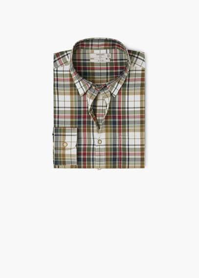 Camisa slim-fit algodão quadrados | MANGO MAN