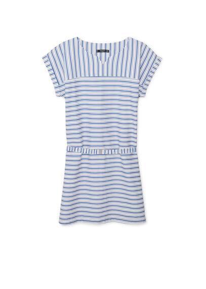 Robe Coton À Rayures - Tissu en coton, imprimé rayures, col rond fendu, manches courtes retournées, ceinture amovible à la taille, bas fendu sur les côtés.