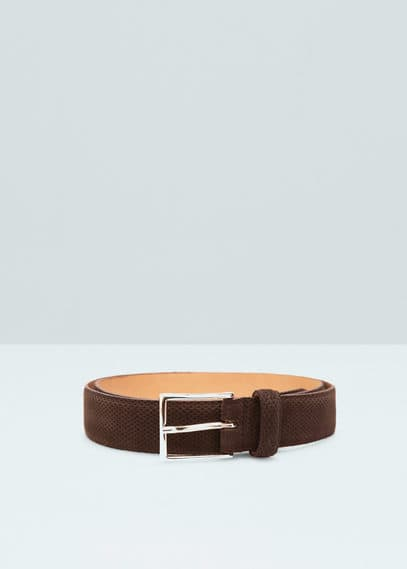 Laser-cut suede belt | MANGO MAN