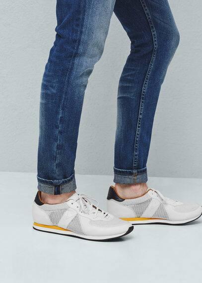 Contrast materials sneakers   MANGO MAN