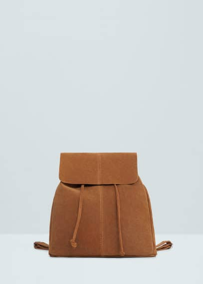 Lapel suede backpack | MANGO