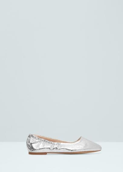 Metallic ballerina's met elastiek | MANGO
