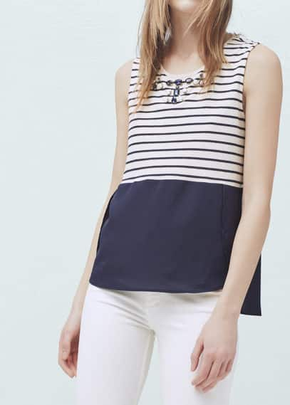 Striped cotton-blend top | MANGO
