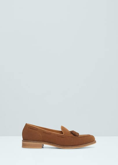 Suede loafers with tassels | MANGO MAN