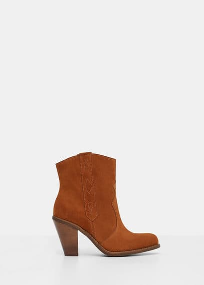 Suede leather ankle boots | VIOLETA BY MANGO
