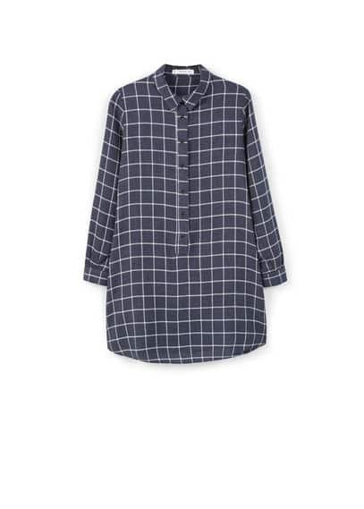 Robe Chemise À Carreaux - Style chemisier, motif à carreaux, manches longues avec poignets boutonnés, fermeture boutonnée sur le devant, bas arrondi.