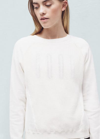 Contrast sleeve sweater | MANGO