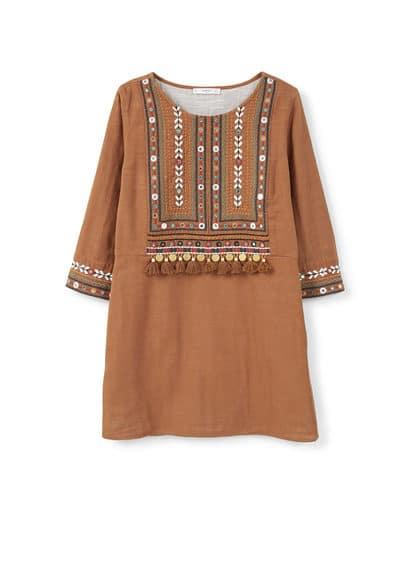 Robe Brodée Perles - Tissu en coton, col rond, manches trois quarts, broderie décorative, miroirs brodés, pompon, doublure.