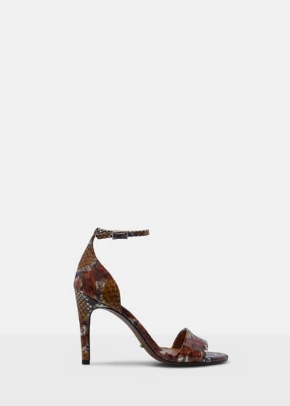 Ankle-cuff leather sandals | VIOLETA BY MANGO