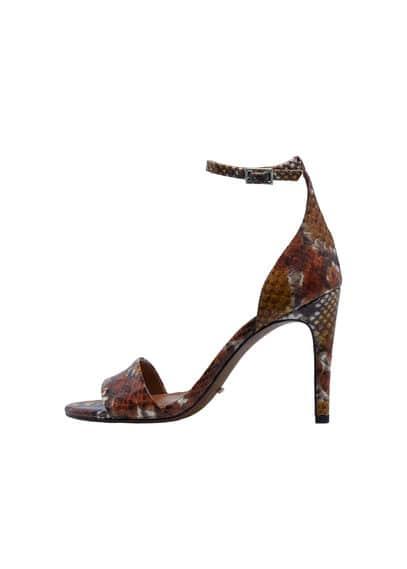 Sandales À Bride Cuir - Effet peau de serpent, bride de cheville, fermeture à boucle, talon de 9,5 cm.