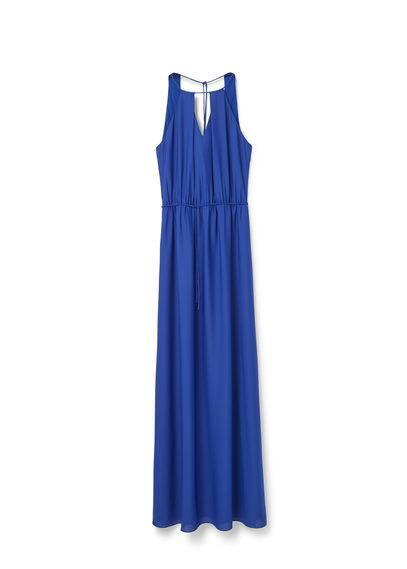 Robe Longue Fluide - Emmanchures américaines, sans manches, épaules dénudées, ouverture sur le devant, taille élastique avec cordon, col carré, doublure.