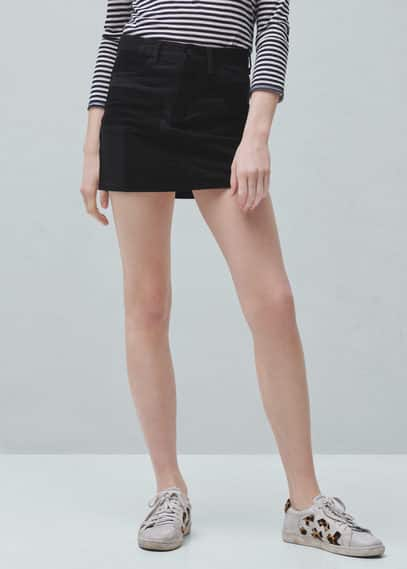 Zipped contrast skirt | MANGO