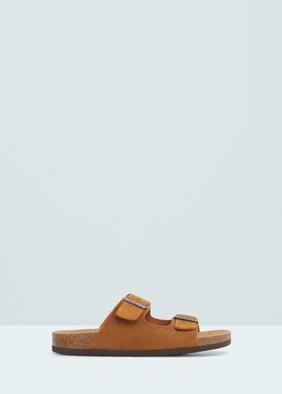 Sandales croûte de cuir à boucle | MANGO MAN