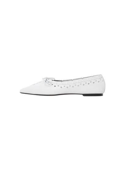 Chaussures Cuir Pointues - Empiècement perforé, N?ud décoratif, À pointe