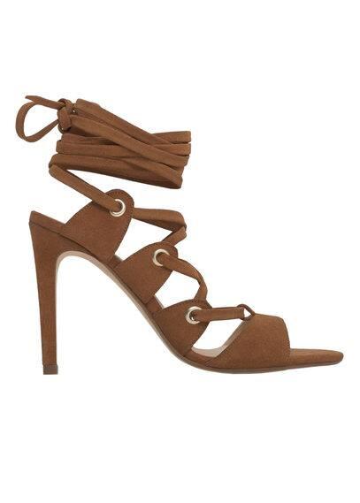 Sandales Lacées Cuir - À bride arrière, cordon entrelacé, talon fin, talon de 11 cm.