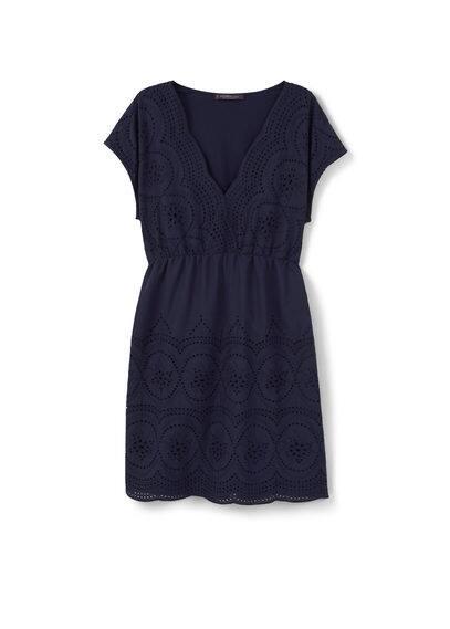 Robe Ajourée Coton - Tissu en coton, ajouré, col en V, manches courtes.