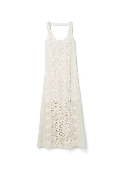 Robe Longue Crochet - Tissu en coton, tissu en crochet, col rond, dos en V, doublure.