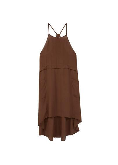 Robe Poches Côtés - Tissu fluide, bretelles fines, poches plaquées, col carré.