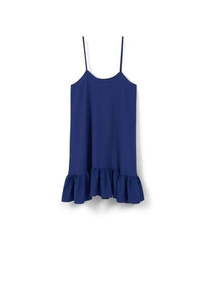 Robe Base Volantée - Tissu fluide, col rond, bretelles fines, base volantée, encolure arrondie au dos.