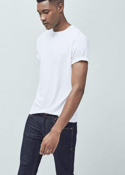 Essential cotton-blend t-shirt | MANGO MAN