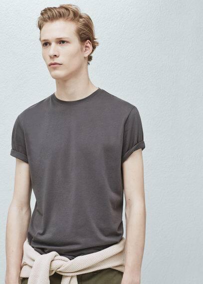 Повседневная хлопковая футболка   MANGO MAN