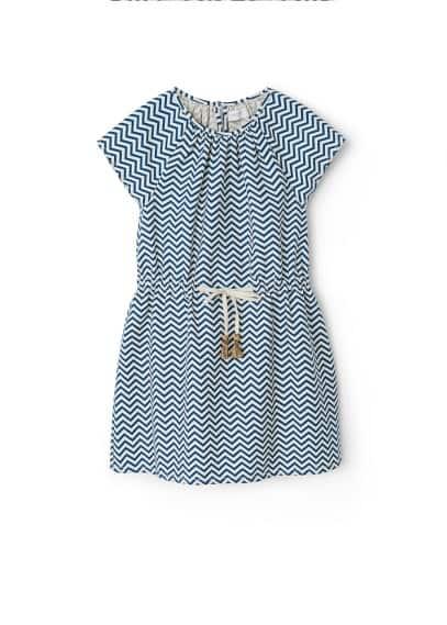Robe En Imprimé Géométrique - Tissu de coton et lin mélangé, col rond avec détails plissés, manches courtes, taille élastique avec cordon de serrage, fermeture en goutte à l'arrière.