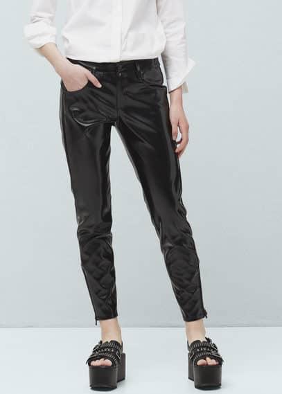Oiled shiny trousers | MANGO
