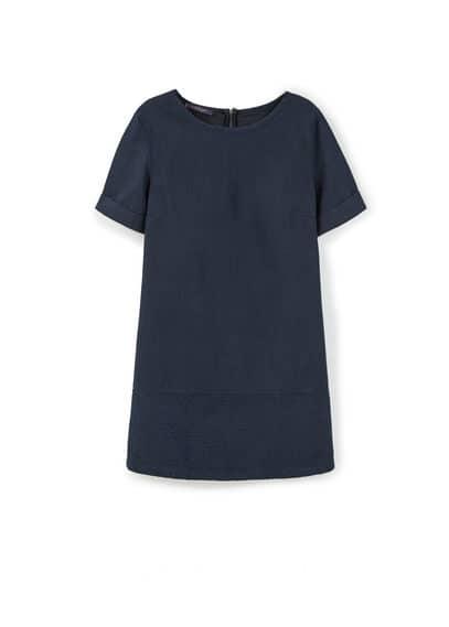 Robe Empiècement Brodé - Tissu en coton, col rond, manches courtes retournées, empiècement brodé, fermeture Éclair à l'arrière.