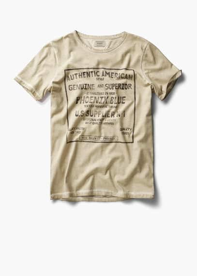 Verwassen katoenen t-shirt met tekst   MANGO MAN