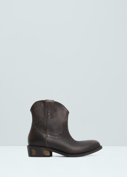 Leather cowboy ankle boots | MANGO