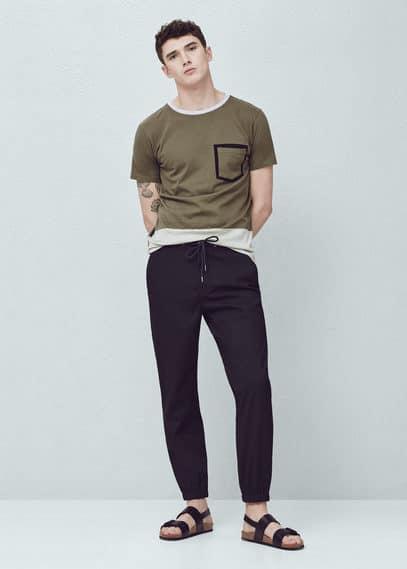 T-shirt coton poche | MANGO MAN