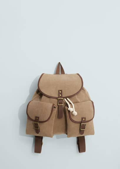 Canvas mixed backpack | MANGO MAN