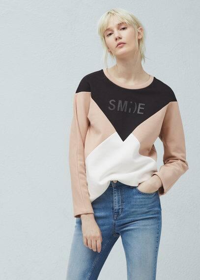 Sweat-shirt contrasté en coton | MANGO