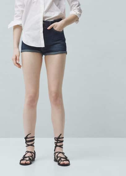 High-waist denim shorts | MANGO