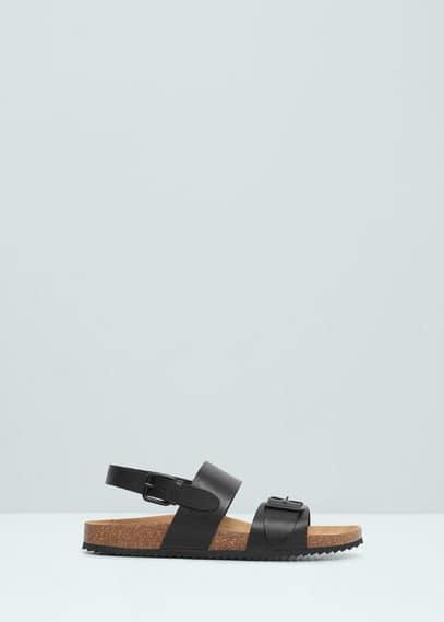 Leren sandalen met gespen | MANGO MAN