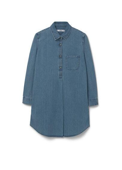 Robe Denim Moyen - Tissu denim, délavé moyen effet usé, col chemise, manches longues avec poignets boutonnés, poche plaquée sur la poitrine, fermeture boutonnée sur le devant.
