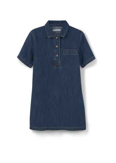 Robe Chemisier Denim - Tissu denim, col chemise, manches courtes, poche décorative, fermeture boutonnée sur le devant.