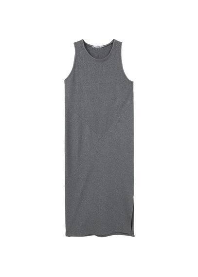 Robe Côtelée Métallisée - Tissu de coton mélangé, tissu côtelé, col rond, fentes latérales à la base.