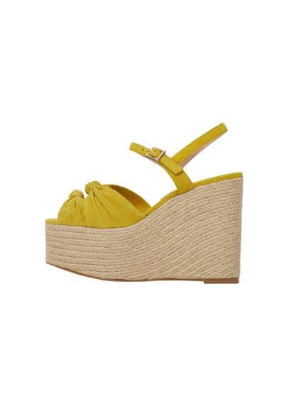 Sandales Plateforme Cuir - N?ud décoratif, à bride arrière, fermeture à boucle métallique carrée, semelle en sparte, talon de 12 cm, plateforme de 5,5cm, semelle en caoutchouc.
