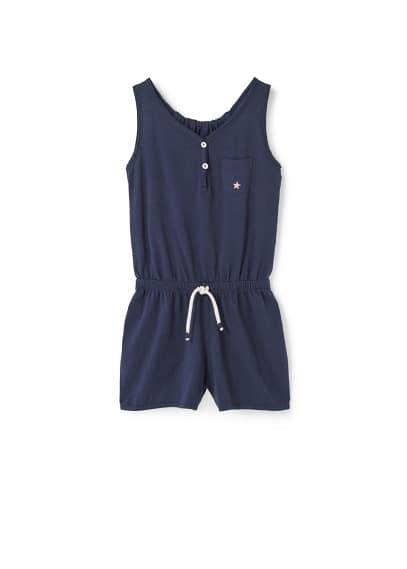 Combi-Short Coton - Tissu en coton, bretelles, col en V, fermeture boutonnée, poche plaquée sur la poitrine, taille élastique avec cordon.