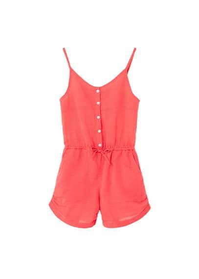 Combi-Short Coton - Tissu en coton, bretelles fines, col en V, fermeture boutonnée, taille élastique avec cordon, deux poches latérales, revers.