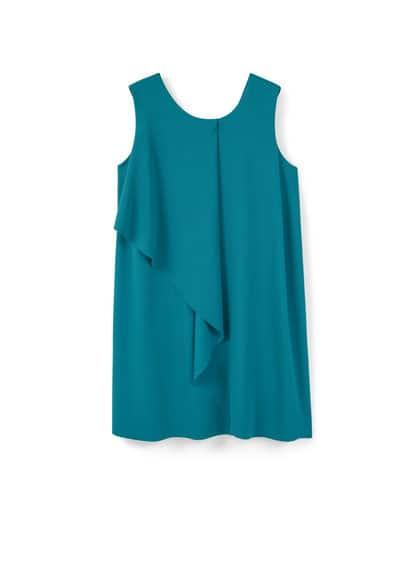 Robe Asymétrique - Tissu texturé, asymétrique, col rond, sans manches, doublure.