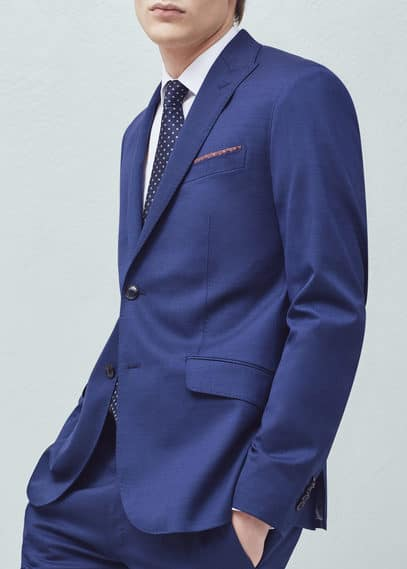 Slim-fit wool suit blazer | MANGO MAN