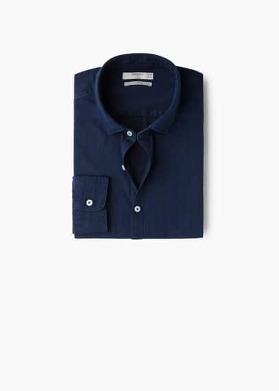 Camisa slim-fit algodão cambraia | MANGO MAN