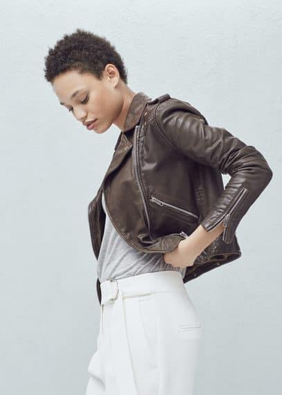 拉链皮夹克 | MANGO