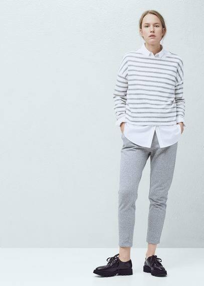 Striped cotton-blend sweatshirt | MANGO