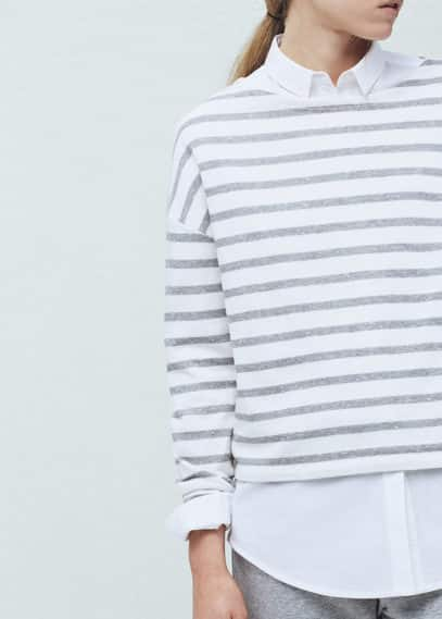 Striped cotton-blend sweatshirt | MANGO