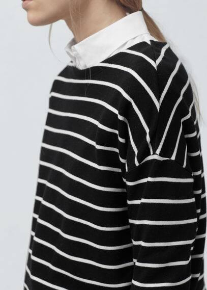 Sweat-shirt coton à rayures   MANGO