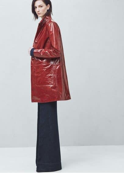Premium - lackmantel mit taschen | MANGO