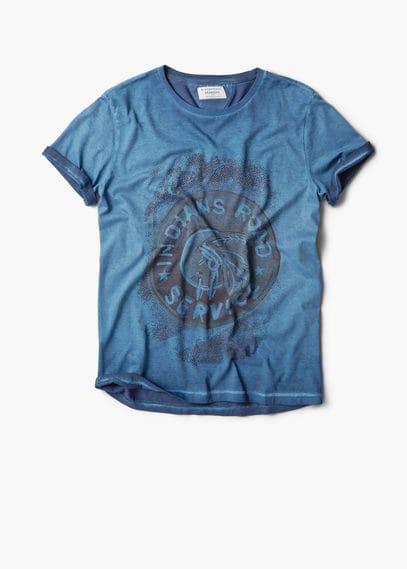 T-shirt coton délavé texte | MANGO MAN